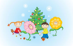 New Year card. Childs and flowers dancing around Cristmas tree Stock Photo