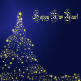 New Year card. With Christmas tree Royalty Free Stock Photos