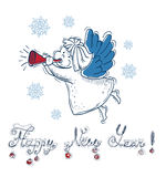 New Year card with angel and text Royalty Free Stock Photos