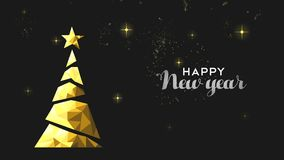 new year card animation of gold low poly pine tree stock illustration