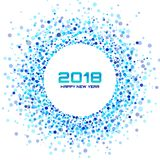 New Year 2018 Card Background. Blue Light Halftone Circle Frame using confetti circle dots texture on white background Stock Images