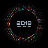 New Year 2018 Card Background. Bright Colorful Disco Lights Halftone Circle Frame isolated on black background. Round border using rainbow colors confetti Royalty Free Stock Photography