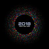 New Year 2018 Card Background. Bright Colorful Disco Lights Halftone Circle Frame isolated on black background. Round border using rainbow colors confetti Stock Image
