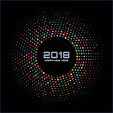 New Year 2018 Card Background. Bright Colorful Disco Lights Halftone Circle Frame isolated on black background. Round border using rainbow colors confetti Stock Images
