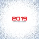 New Year 2019 Card Background. Christmas Gray Circle Frame. Confetti white circle dots. Snow flake circle. Vector. New Year 2019 Card Background. Christmas Gray vector illustration