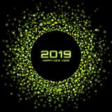 New Year 2019 card background. Christmas holiday. Confetti circle holiday frame. Green party. Vector illustration. New Year 2019 card background. Christmas royalty free illustration