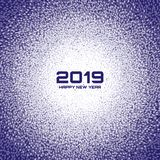 New Year 2019 Card Background. Christmas Violet Circle Frame. Confetti white circle dots texture. Vector illustration. New Year 2019 Card Background. Christmas stock illustration