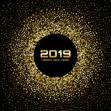 New Year 2019 Card Background. Gold glitter paper confetti. Glistening Golden Disco Lights. Glow Christmas. Vector. New Year 2019 Card Background. Gold glitter royalty free illustration
