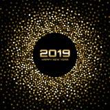 New Year 2019 Card Background. Gold glitter paper confetti. Glistening Golden Disco Lights. Glow Christmas. Vector. New Year 2019 Card Background. Gold glitter stock illustration