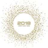 New Year 2018 Card Background. Gold Light Halftone Christmas Circle Frame using snowflake confetti circle dots texture. Isolated on white backdrop. Vector royalty free illustration