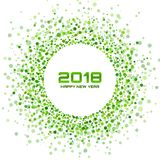 New Year 2018 Card Background. Green Light Halftone Christmas Circle Frame using snowflake confetti circle dots texture. Isolated on white backdrop. Vector royalty free illustration