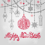 2016 New year card with ball,garlands and. New year 2016 design greeting card with ball, garlands and swirls label.Holiday background.Ball ,title with Stock Illustration