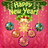 New year card with balls and bells Stock Images