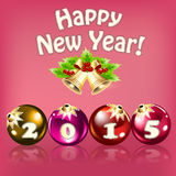 New year card with balls and digits 2015 Stock Photography
