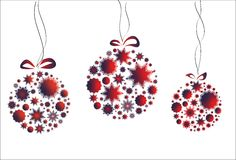 New Year card. With balls of snowflakes Royalty Free Stock Images