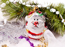 New year card with beautiful snowman. And fur tree branch Stock Images