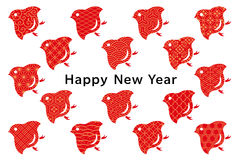 New year card . bird with Japanese traditional design. Royalty Free Stock Photo