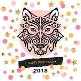 2018 New Year card with black dog`s or wolf`s head stylized Maori face tattoo. Stock Image
