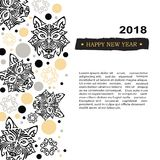 2018 New Year card with black husky dog`s head stylized Maori face tattoo. Royalty Free Stock Photography