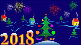 New Year card with a blue landscape. Christmas card with a winter night landscape and a salute Royalty Free Stock Images