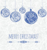 New year card with blue ornamental christmas decorations  Royalty Free Stock Photo