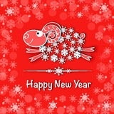 New year card with blue sheep. 2015 new year card with blue sheep Stock Illustration