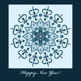 New Year Card with blue snowflake Stock Photos
