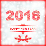 2016 New year card on blur background. Vector illustrations of 2016 New year of snowflakes pattern greeting card on blur background Royalty Free Illustration