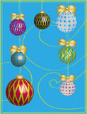 New year card with boluses and holiday ornament. New year card with boluses (toys), knots  and holiday ornament Royalty Free Stock Photography