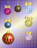 New year card with boluses and stars Royalty Free Stock Image