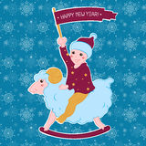 New year card. The boy on the lamb with a flag. New year card royalty free illustration