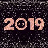 New Year card. Brilliant stylized inscription 2019 royalty free stock image