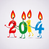 vector New year 2014 card with  candles Royalty Free Stock Photos