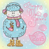 New year card with cartoon sheep and speech bubble. New year card with sheep. vector illustration stock illustration