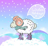 2015 new year card with cartoon sheep and speech Stock Images