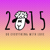 New 2015 year card with cartoon sheep. New 2015 year card with sheep. vector illustration Stock Image