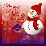 New year card with cartoon snowman and speech. New year card with snowman. vector illustration Stock Photo