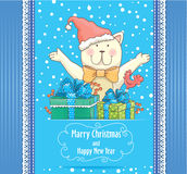 New Year card with cat Royalty Free Stock Photo