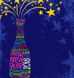 2018 New Year card champagne bottle bursting. Happy New Year 2018 design. Abstract champagne bottle with inspiring handwritten words, bursting stars. Blue royalty free illustration