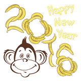 2016 new year card with cheerful monkey. Vector illustration.Sy. Christmas background with a cute monkey, a symbol of 2016 on the eastern calendar stock illustration