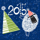 2015 new year card with cheerful sheep. Vector illustration.Sym. Vector illustration with cute sheep symbol 2015. New Year background stock illustration