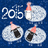 2015 new year card with cheerful sheeps. Vector illustration.Sy. New Year background with cute sheep. Symbol 2015 stock illustration