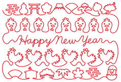 New year card with chicken and Japanese icons. red thread. Royalty Free Stock Photography