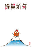 New Year card with chicken tumbling doll. And Fuji mountain Royalty Free Stock Image