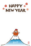 New Year card with chicken tumbling doll. And Fuji mountain Royalty Free Stock Photography