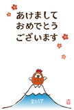 New Year card with chicken tumbling doll. And Fuji mountain Royalty Free Stock Photo