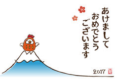 New Year card with chicken tumbling doll. And Fuji mountain Royalty Free Stock Photos