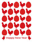 New year card with chickens and eggs. eggs with Japanese traditional design. Royalty Free Stock Photos