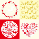 New year card, Chinese horse year. New year card with Chinese traditional elements vector illustration
