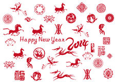New year card with Chinese icons. The Chinese horse year, happy new year stock illustration